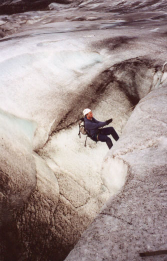 Tom makes the descent over the edge, belayed by our trusty Icelandic guides, Ivar and Einar.