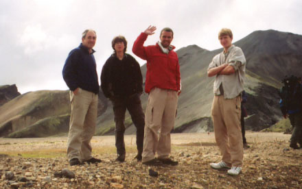 The boys stretch their legs after a long, jostling, exciting bus ride into Landmannalauger.