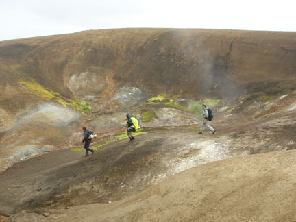 More steamy, sulfury walking up among the peaks... here we're looking for a place to sit on our packs and eat lunch.