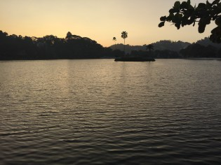 the lake in central Kandy at sunset