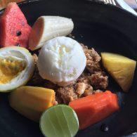 Fresh fruit, homemade granola, and frozen curd (a bit like frozen yogurt) made up my favorite breakfast dish.