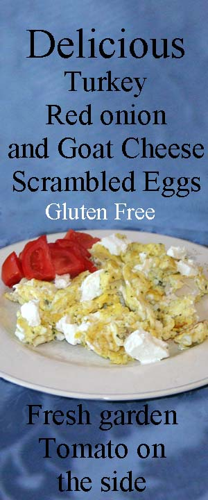 Delicious Turkey, Red Onion and Goat Cheese Scrambled Eggs For Two