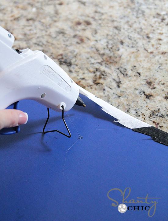 Hot glue fabric magnet board