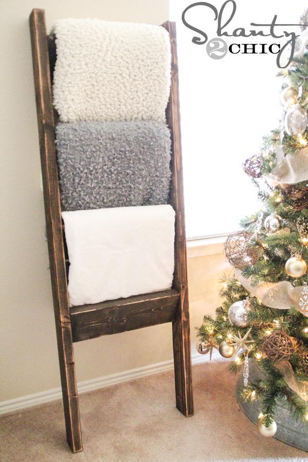 diy blanket ladder - DIY-Wooden-Ladder