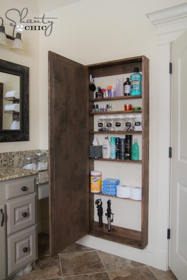 Diy Bathroom Mirror Storage Case, Mirrored Bathroom Floor Cabinet