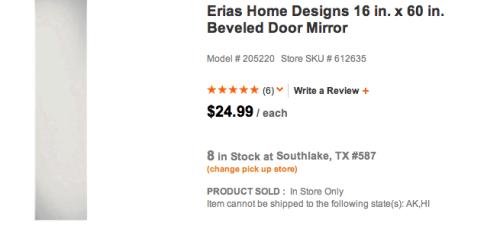 Home Depot Full Length Mirror