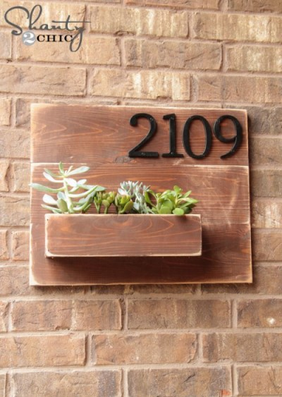 Pallet Projects Shanty 2 Chic Address Planter House Number DIY Brick Outdoors Curb Appeal Wood Outdoor Decor
