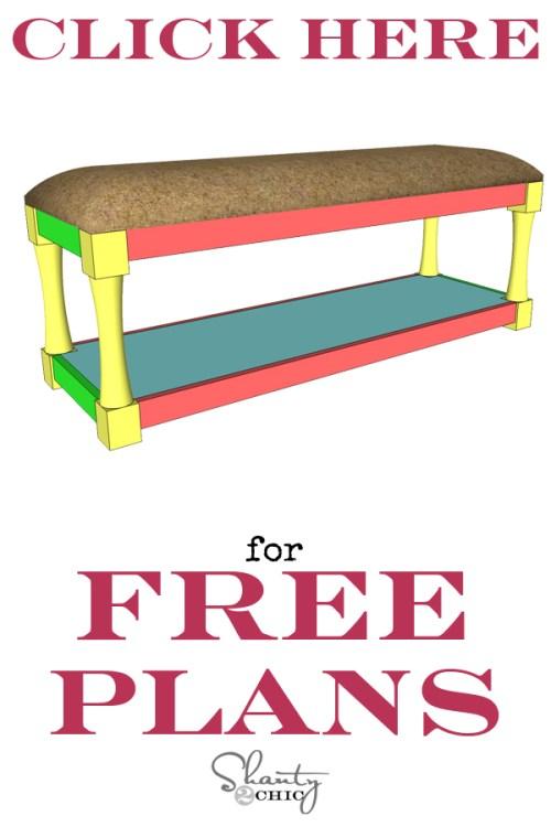 Print Free Plans DIY Upholstered Bench