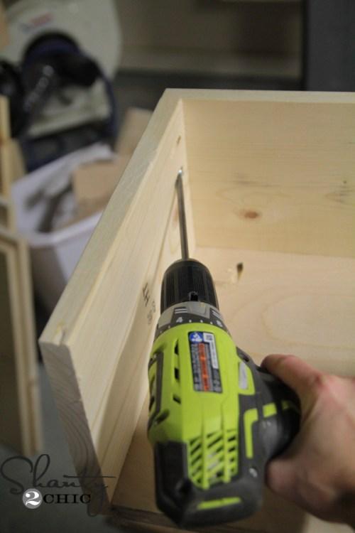 Building shelves under tv