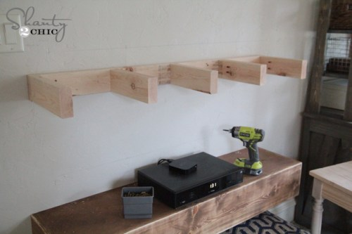 Shelves under tv