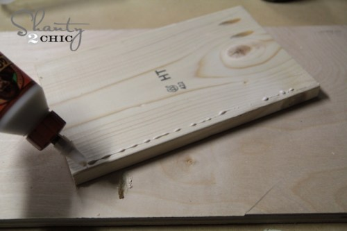 wood glue on shelf