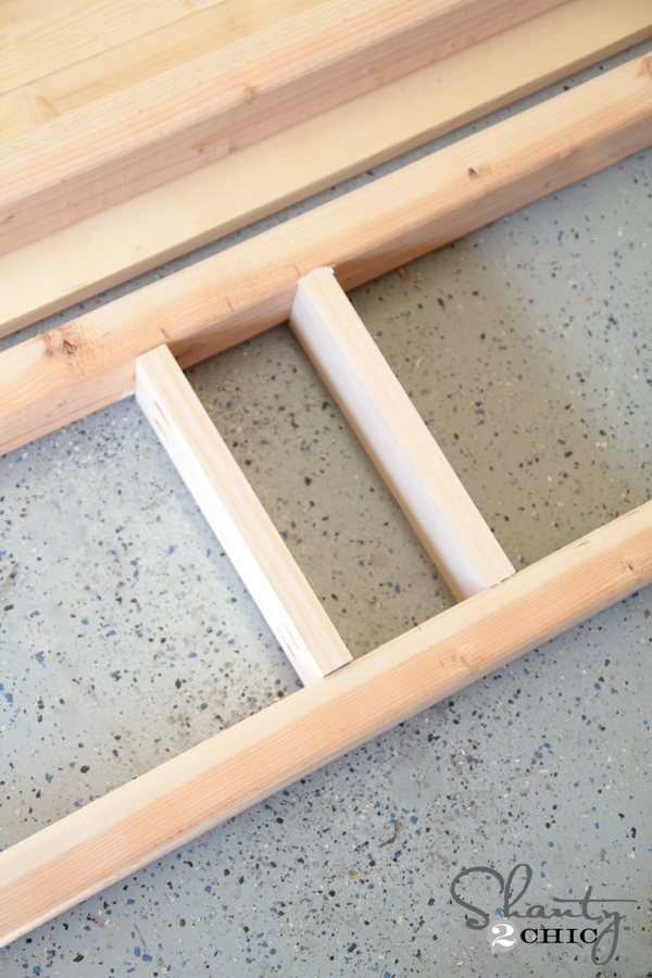Attach leg supports to bench apron
