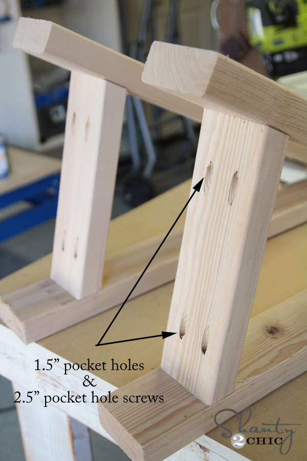 Pocket holes for sawhorse bases