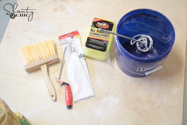 Supplies for grouting brick