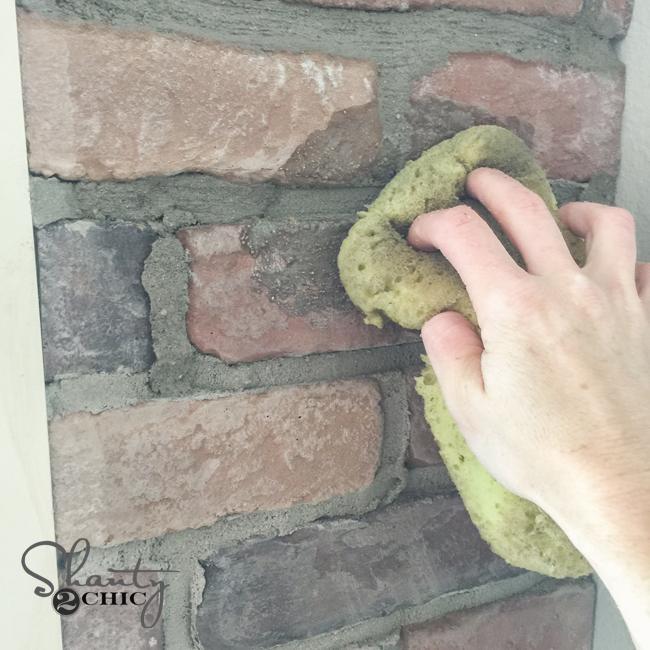 Wiping Mortar on brick