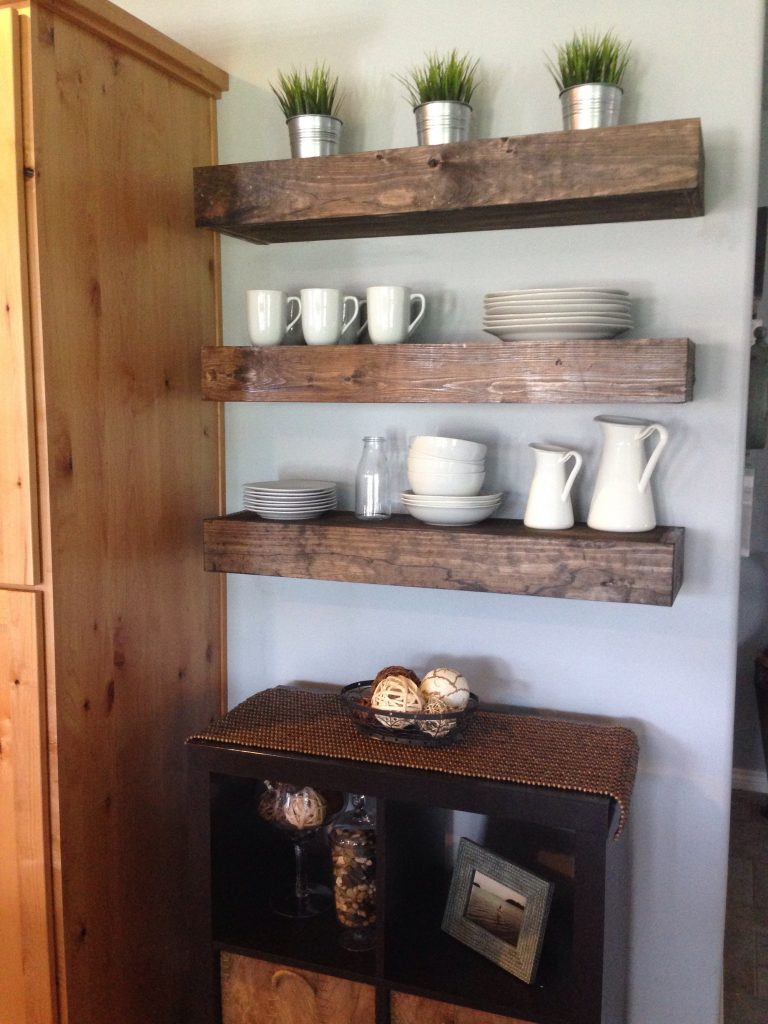 Floating shelves in dining room - Shanty 2 Chic