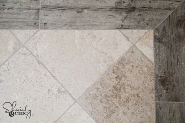 faux wood and travertine