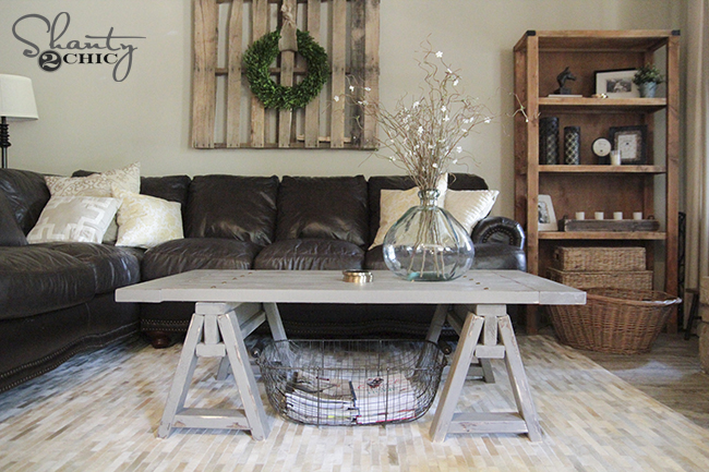 DIY Sawhorse Coffee Table Shanty2Chic Free Plans