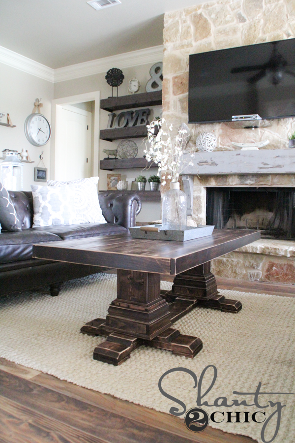 Round Dark Wood Coffee Table