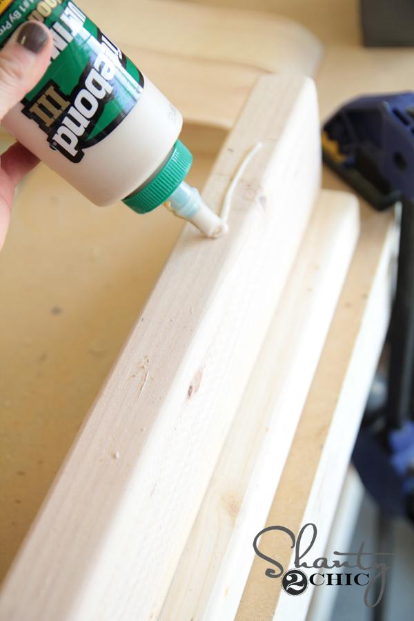 DIY Sawhorse Coffee Table - wood glue