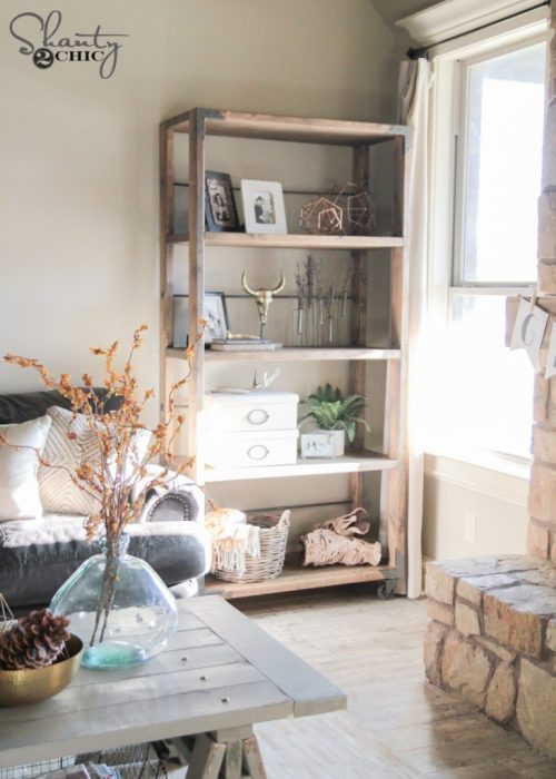 DIY Industrial Cart Bookcase Free Plans