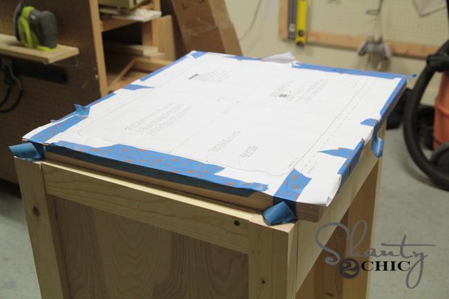 cutting wood countertop