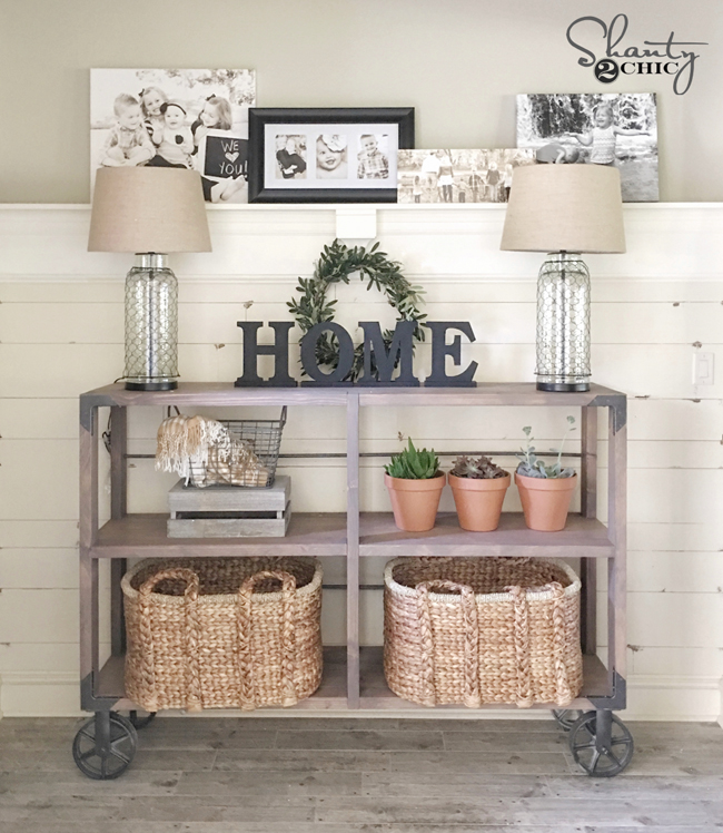 DIY Industrial Cart Console Plans by Shanty2Chic