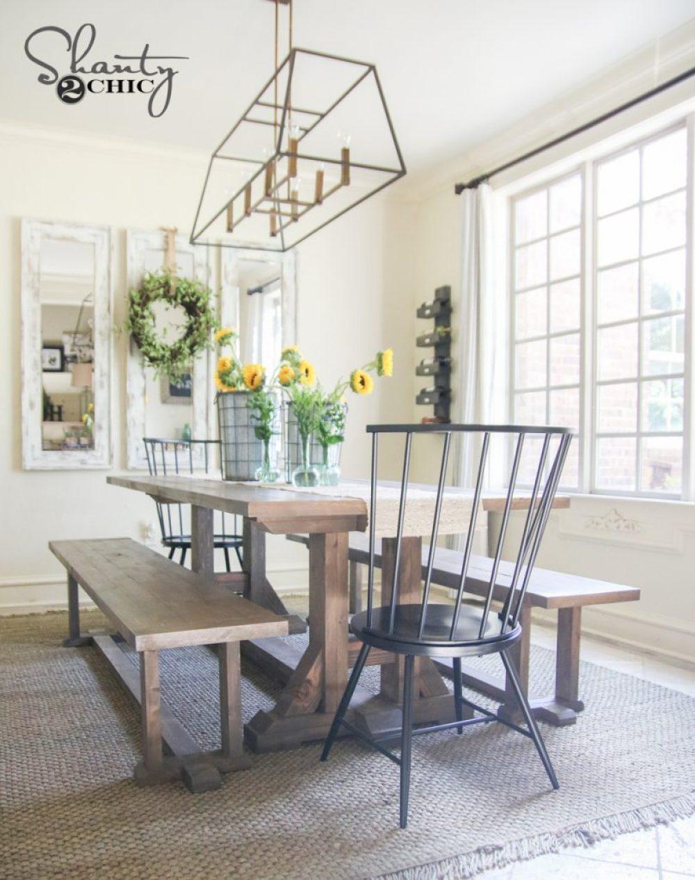 DIY Farmhouse Dining Table Free Furniture Plans