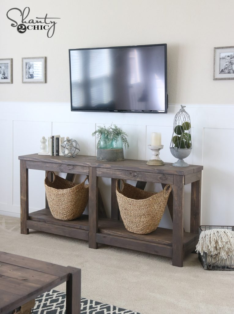 DIY Diagonal Base Farmhouse Console Table Shanty 2 Chic