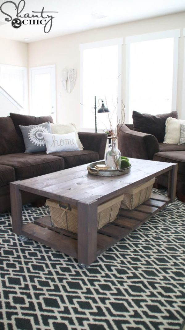 Easy To Build Coffee Table.Diy Crate Coffee Table On Wheels Shanty 2 Chic