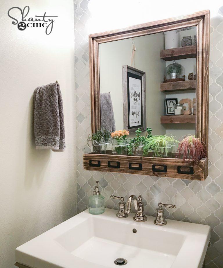 Diy Farmhouse Storage Mirror And Youtube Video Tutorial Shanty 2 Chic
