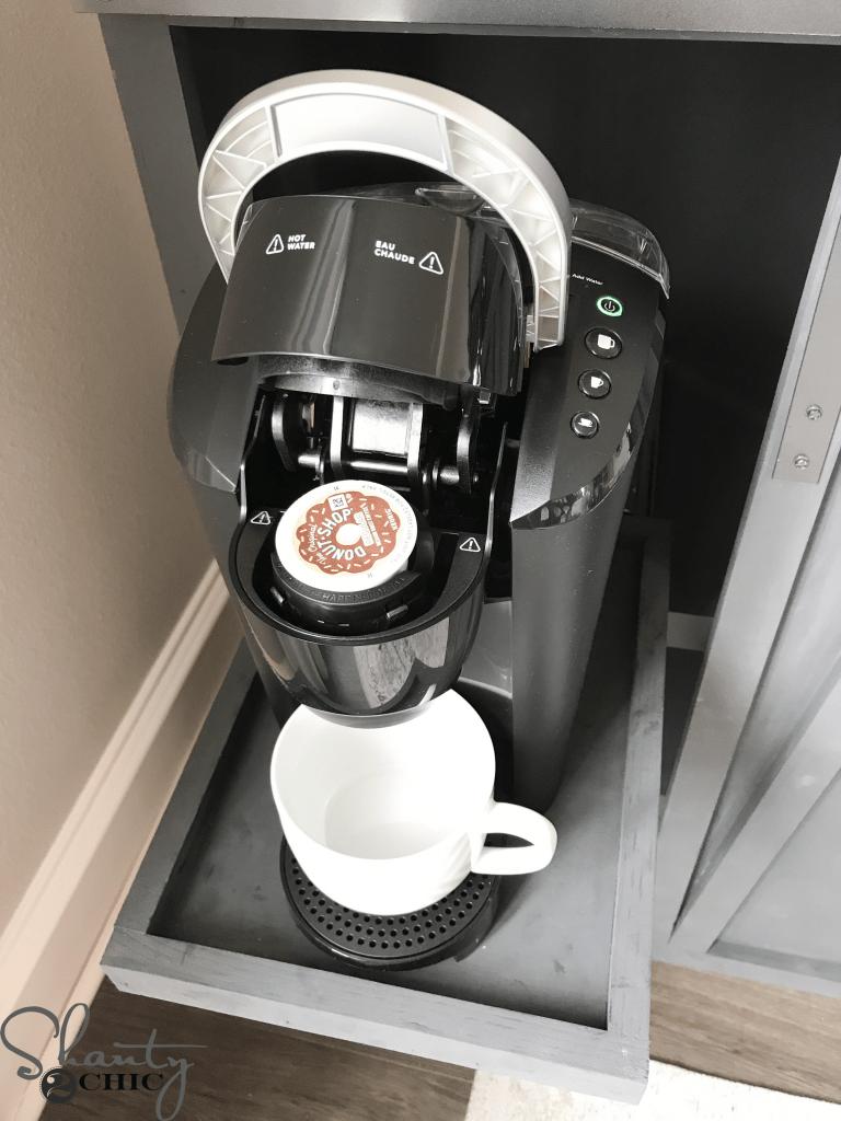 DIY Barn Door Coffee Cabinet