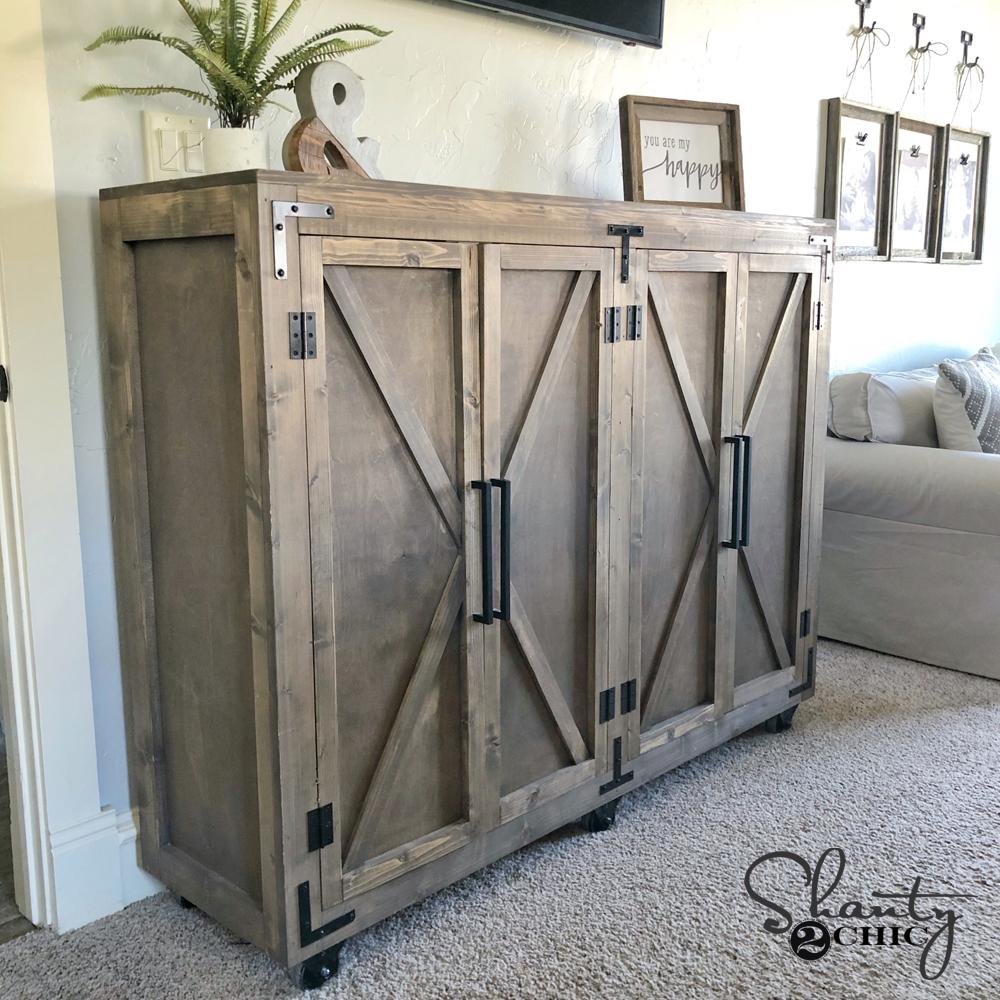 DIY Farmhouse X Storage Cabinet