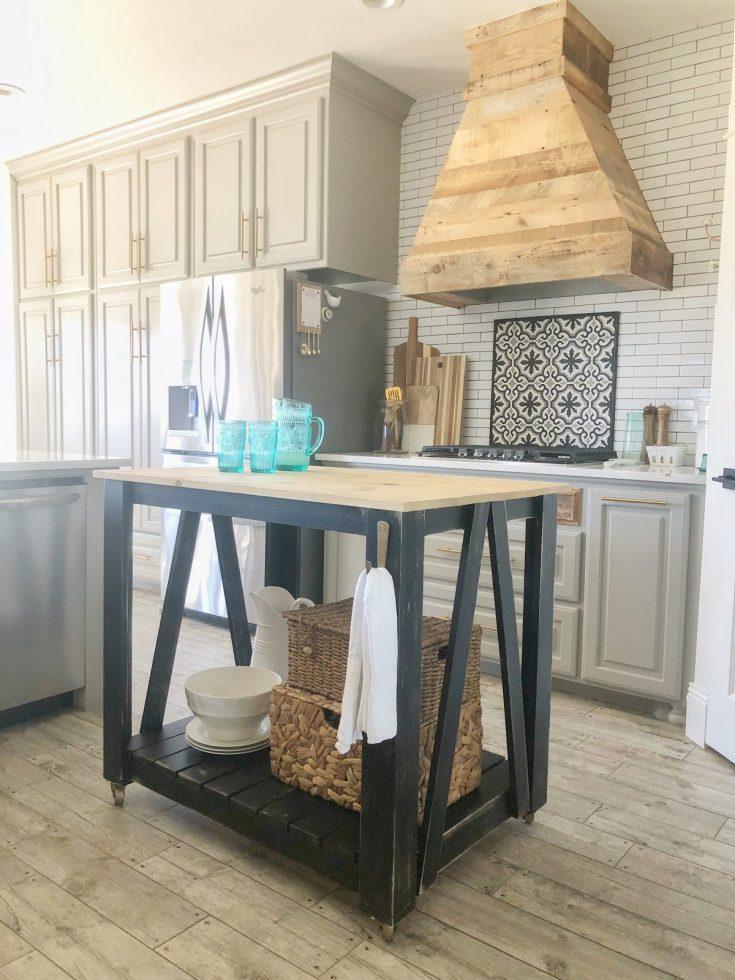 diy modern farmhouse kitchen island cart - shanty 2 chic