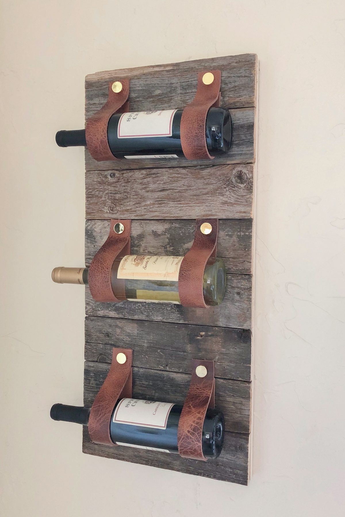DIY Wood and Leather Wine Rack