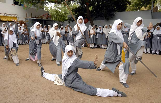 Muslim girls practicing wushu