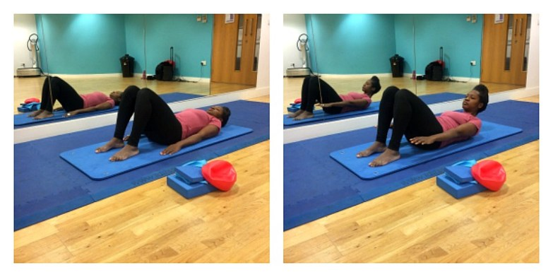 Pilates ab preb exercise start & finish photo