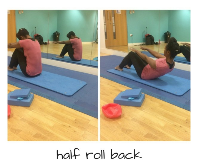 Pilates exercise for beginners, half roll back