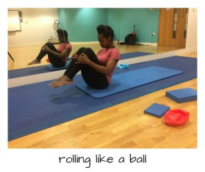 Strengthen core muscles with Pilates rolling like a ball