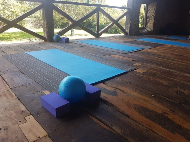 Pilates mat on studio floor with ball and bricks set up
