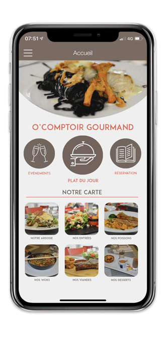 Application mobile O'Comptoir Gourmand