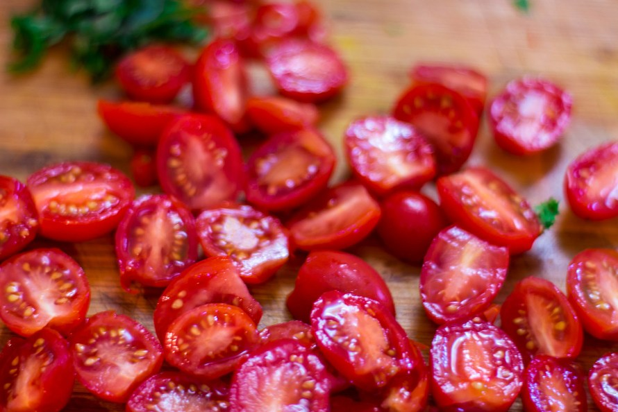 Sliced baby tomatoes