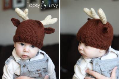 reindeer antler baby beanie