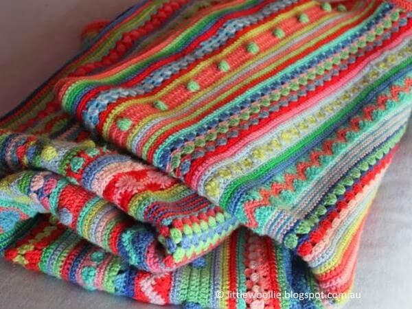 Mixed Stitch Stripey Blanket