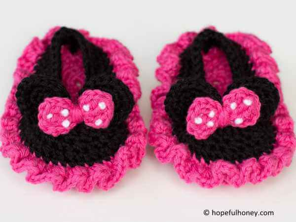 Minnie Mouse Inspired Baby Booties