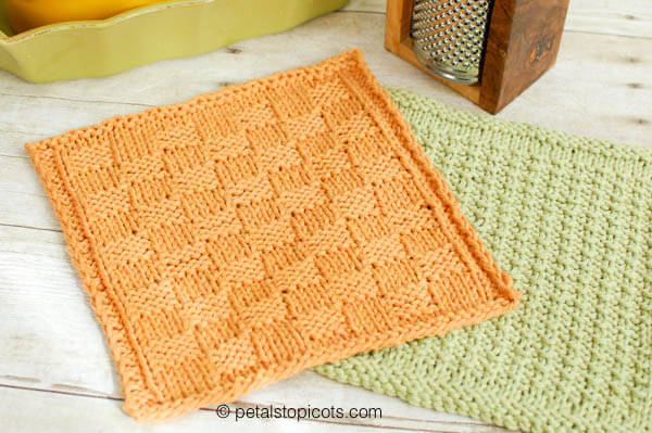 Basket Weave Knit Dishcloth Pattern