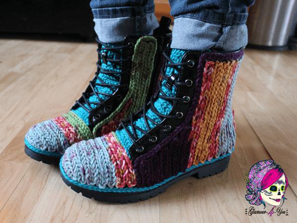 Faux Crochet Outdoor Boots