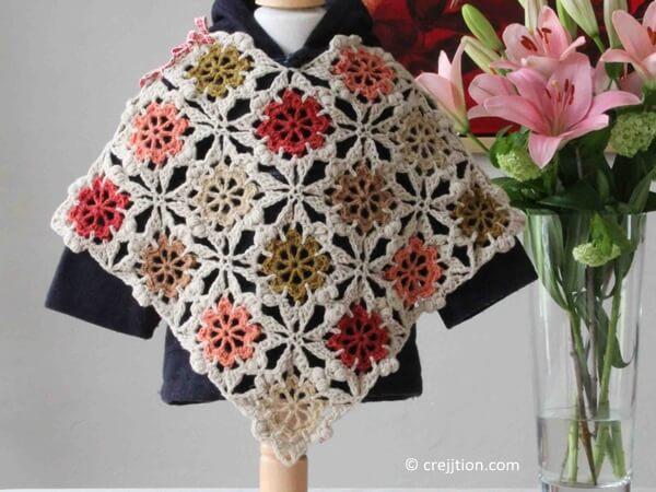 Flower Square Baby Poncho
