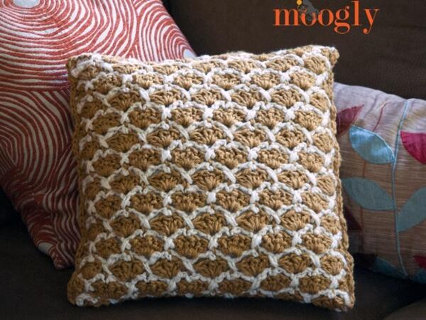 Sunshine Lattice Crochet Pillow