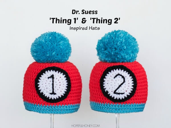 """Thing 1"" and ""Thing 2"" Inspired Baby Hat"